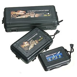 GOZAR Black Plastic Flashlight Tool Storage Case Box For Outdoor-L
