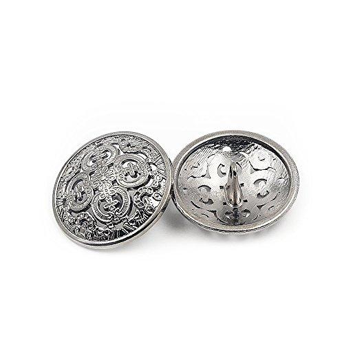 30PCS Kleidung Knopf - Retro Hollow Sewing Button Shank Runde Geformte Metall Button Set für Männer Frauen Blazer, Mantel, Uniform, Hemd, Anzug und Jacke (Silber, 20mm)