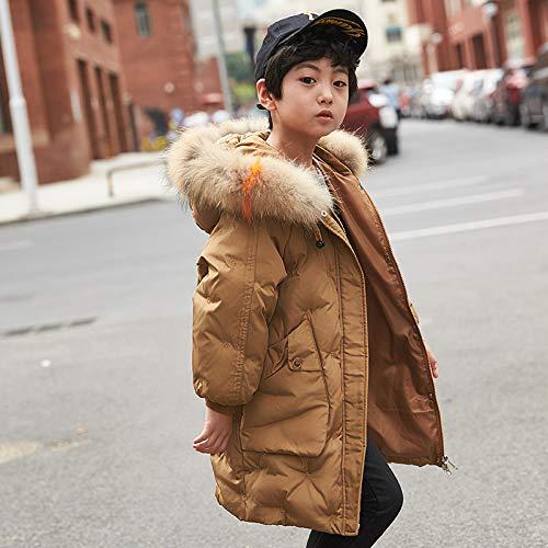 FDSAD Warme Jacke Im Freien Kinder Outdoor Warme Jacke Langer Abschnitt Neue Jungen Und Mädchen Dicke Kinderbekleidungsjacke Geeignet Für Höhe 160Cm Schokolade