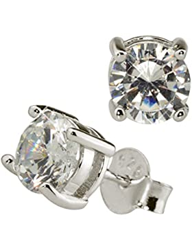 Damen-Ohrringe Basic Solitär Ohrstecker 925 Sterling Silber Zirkonia Kristall Stein