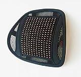 LORDOSENSTÜTZE aLowag Eleganzia Kunstleder mit einstellbaren Krümmung und Holzperlen! Rückenstütze Rückenkissen für Autositz oder Bürostuhl