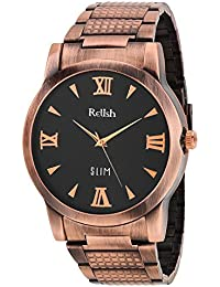 RELISH RE-C8029CC Copper Case Black Dial Analog Watch For Mens & Boys