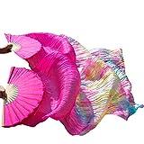 YI NA SHENG WU Rosa roja+Color Mezclado Danza del Vientre Abanicos de Seda Hechos a Mano 1 Unidad Mano Izquierda + 1 Pieza Abanicos para la Mano Derecha (180X90 cm)