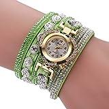 Armbanduhren Mode-Accessoires, Frauen mehrschichtige Band Strass Herz Dial Analoge Quarz-Armbanduhr - Gr¨¹n