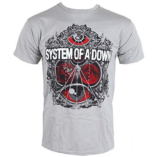 maglietta da uomo con logo band System Of A Down– grigio Mathematics Grau S
