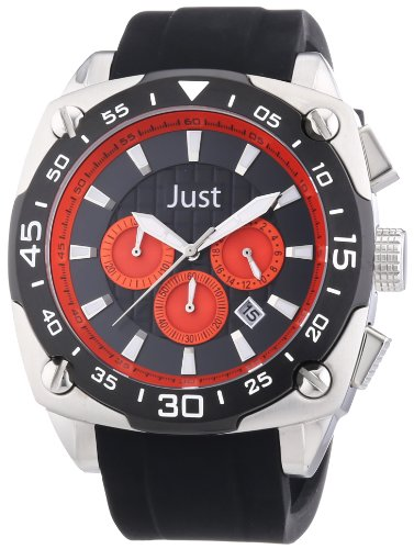 Just Watches 48-STG2373-RD - Orologio da polso uomo, caucciú, colore: nero