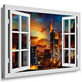 BOIKAL XXL203-7 Fensterblick Leinwand bild 3D Illusion -
