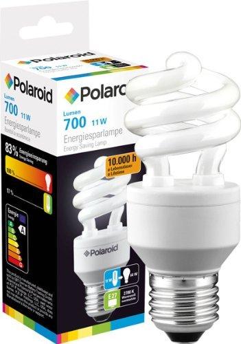 Polaroid Energiesparlampe Birne Spiral 11W, E27, entspricht 50 Watt Glühbrine, 700 Lumen 806099 - 50w Spiral