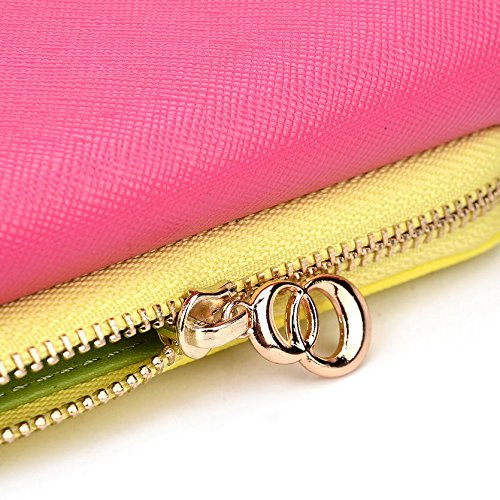 Kroo d'embrayage portefeuille avec dragonne et sangle bandoulière pour épices Smart Flo 358(mi-358)/flo 359(mi-359) Smartphone Multicolore - Green and Pink Multicolore - Magenta and Yellow