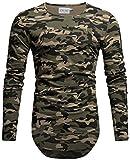 Crone Herren Langarm Shirt Longsleeve Slim Fit T-Shirt Leicht Oversize Basic Sweatshirt in vielen Farben (XL, Camouflage)