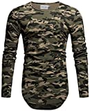 Crone Herren Langarm Shirt Longsleeve Slim Fit T-Shirt Leicht Oversize Basic Sweatshirt (L, Camouflage)