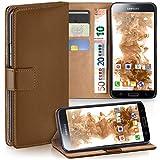moex Samsung Galaxy S5 | Hülle Braun mit Karten-Fach 360° Book Klapp-Hülle Handytasche Kunst-Leder Handyhülle für Samsung Galaxy S5 / S5 Neo Case Flip Cover Schutzhülle Tasche