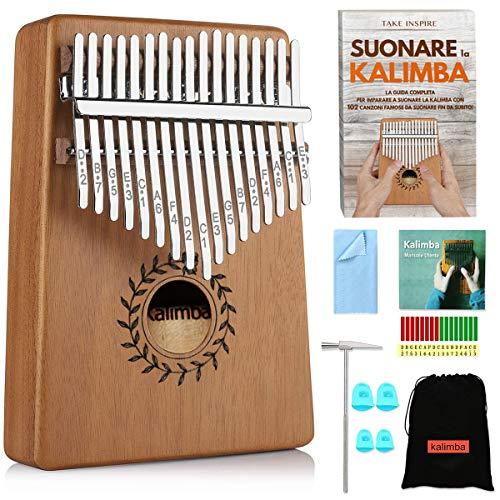 Take inspire® | kalimba 17 tasti professionale in legno di mogano pregiato | libro e-book 102 canzoni e kit accessori | mbira finger thumb piano instrument