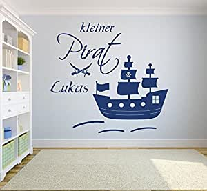 xl wandtattoo mit namen kleiner pirat piratenschiff 73014 100x100cm blau mit s bel f rs. Black Bedroom Furniture Sets. Home Design Ideas