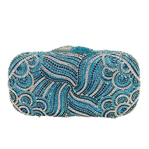 Baibangkuo borsa a tracolla a catena con pochette da sera con strass elegante da sera. borsa a tracolla in stile europeo e americano personalità semplice (colore : blue)