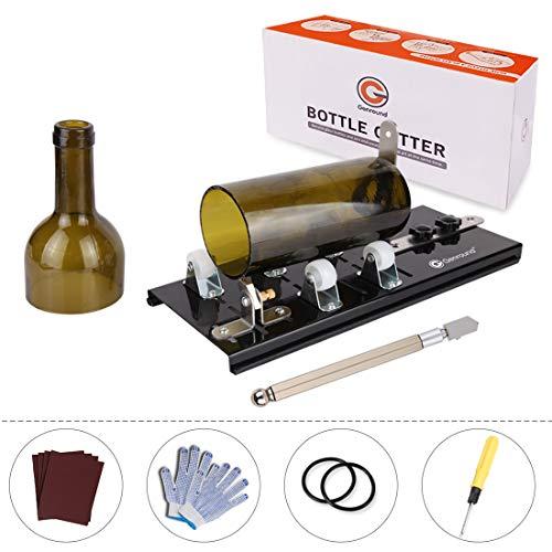 Genround Flaschenschneider [Upgrade G2.1 Version] Glasschneider für Flaschen, Glasflaschen Schneider Set mit Glasschneider, Rutschfesten Handschuhen, Schleifpapier für DIY Flasche Kreativ - Schwarz