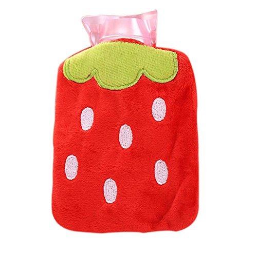 ruikey PVC Wärmflasche Kinder Winter heißem Wasser heißem Wasser Sack mit Cartoon Plüsch-Bezug, rot, 9.5×12cm
