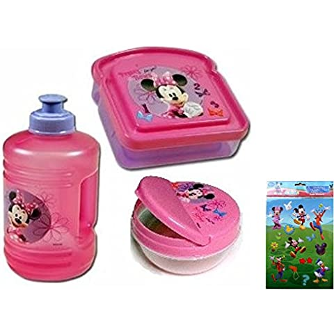 Bottiglia Minnie, Minnie Mouse Sandwich detentore, e snack di Minnie, Minnie 3 Boutique – Set Regalo con un (10 Ounce Bambino Bottiglie)