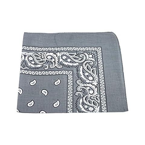 Men's/Women's Bandana Head or Neck Scarves Paisley Pattern 100% Cotton – Gray