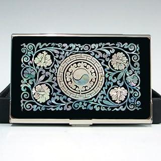 Mother of Pearl Design: Yin und Yang Symbol, schwarz-Visitenkarten-Halter, Metall/Edelstahl, schlankes Design mit Gravur