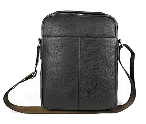 Zerimar Bolso Bandolera de Cuero para Hombre Bolso de Hombro con gran capacidad Piel suave Color marron Medidas: 30x24x8 cms.