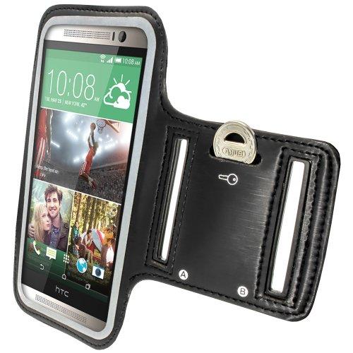 igadgitz Reflektierenden Anti-Rutsch Schwarz Sports Jogging Armband Laufen Fitness Oberarmtasche für HTC One M8 (2014) Mit Schlüsselfach