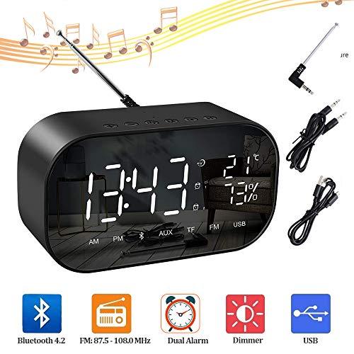 Digital Wecker, Digitaluhr mit Bluetooth Lautsprecher und FM Radio, Dual-Alarm mit USB, 5.5'' LED Display mit 3 Helligkeitsstufen, 12/24-Stunden/Temperaturanzeige, Datensicherung mit Batterie