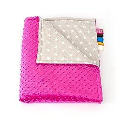 75cm x 100cm, Pink + Stars: 1buy3 MINKY lined baby blanket |plush blanket |play rug |cuddle blanket 75 x 100 cm (Pink + Stars)