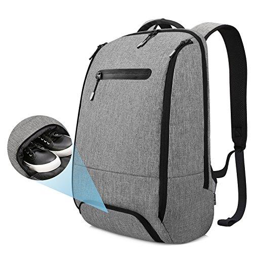 Imagen de reyleo  portátil impermeable backpack para ordenador hasta 15,6 pulgadas con varios compartimentos del casual deporte viaje trabajo  20l gris
