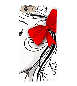 Girl Sketch with Hair Bow Hard Polycarbonate Designer Back Case Cover for Micromax Canvas Knight 2 E471