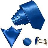 3-SET Royalblaue Blaue Krawatte moderne Breite 8,5cm Binder Manschettenknöpfe Einstecktuch Satin Seide-Optik Hochzeitskrawatte
