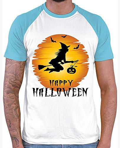 HARIZ  Herren Baseball Shirt Happy Halloween Hexe Mond Kürbis Halloween Kostüm Horror Kürbis Plus Geschenkkarte White/Atoll Blue L