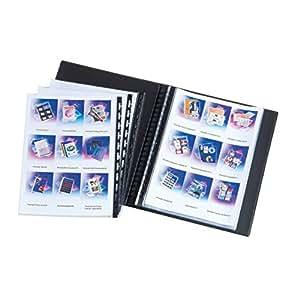 Elba Press-Book à pochettes amovibles 40 vues en PVC rigide opaque aspect marbré haut de gamme A4 Noir