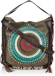 Desigual BOLS_ TROQUELADO FLECOS, 4043, U Troquelad Cross Body Bag - Bolso al hombro para mujer, color verde, talla 42x34x15 cm de Desigual