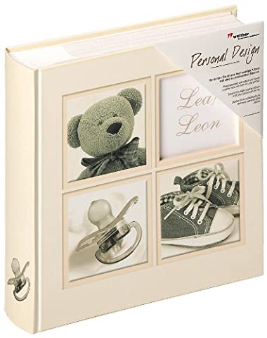 walther design ME-175 Sweet Things memo slip-in baby album with laminated art paper die cut for your baby´s personal name, for 200 photos, 4 x 6 inch (10 x 15 cm), cream