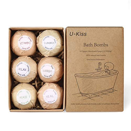 Tree-on-Life 6 pcs Organic Bath Bombs Bubble Bath Salts Homemade Stress Relief Lavender Lemon Peppermint Chamomile Milk Jasmine Flavors