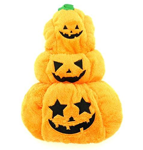 Smalllee lucky store pile costume da zucca di halloween vestito per cane, piccolo, arancione