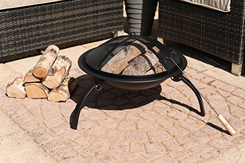 LIVIVO � Round Folding Outdoor Patio Fire Pit for Garden Camping BBQ Picnics Holiday Festivals Heater Log with Mesh Screen and Wooden BBQ Tool