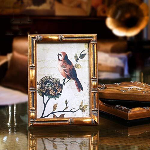 KYJHIHMS Vintage Bambus Styling Grenze Massivholz Fotorahmen, Fotoalbum Familie Fotorahmen Wohnzimmer dekorative Wandrahmen, Gold, 22,6X7,7 cm -