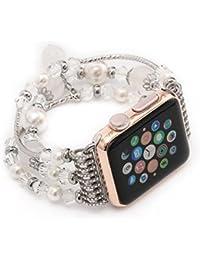 Longra 2017 de la moda de Apple relojes correa de los deportes pulsera de cuentas (blanco)(Una banda de reloj, no un reloj)