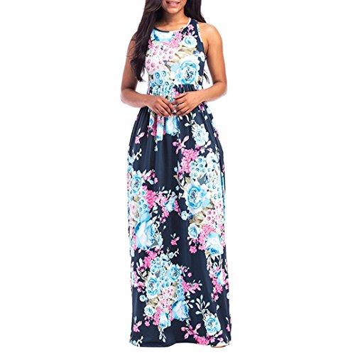 Bekleidung Longra Kleider Damen, Frauen Ärmelloses Sommerkleid Strandkleider Blumenmuster Lang Maxi Kleid mit Taschen (XL, Pink 16)