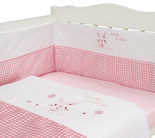 BABY NURSERY PINK RABBIT DESIGN BEDDING 3 PIECE BALE SET QUILT AND BUMPER SET PINK