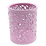 Ciaoed Creux Rose Fleur Cylindre Stylo Crayon Porte Pot Organisateur de Conteneur Rose