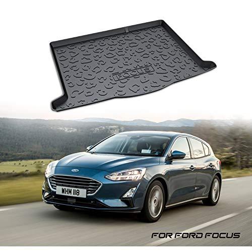 YEE PIN Kofferraummatte Gummi Kofferraumwanne für Ford Focus MK4 (Hatchback) 2018 2019 | Seitenschutz Gummimatte Laderaumschale Schutzmatte für Sicheren Transport von Gepäck Rutschfester Autozubehör