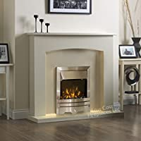 Electric Cream Ivory Silver LED Flame Fire Modern Wall Surround Fireplace Suite 48""