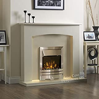 Electric Cream Ivory Silver LED Flame Fire Modern Wall Surround Fireplace Suite 48
