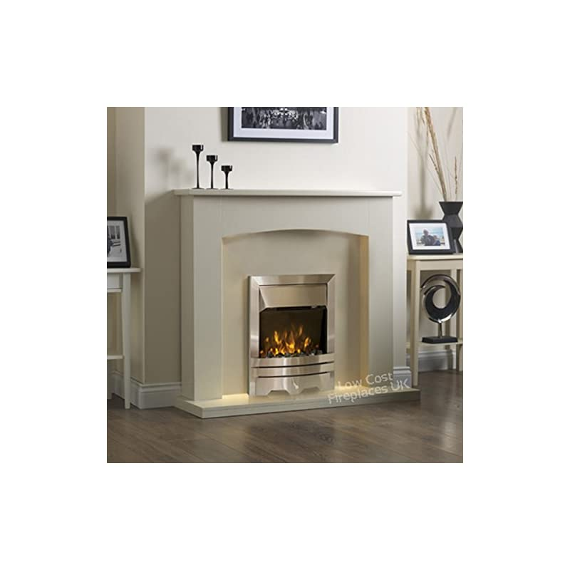 Electric Cream Ivory Silver Flame Fire Modern Wall Surround LED Fireplace Suite 48″