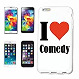"""Handyhülle iPhone 7+ Plus """"I Love Comedy"""" Hardcase Schutzhülle Handycover Smart Cover für Apple iPhone … in Weiß … Schlank und schön, das ist unser HardCase. Das Case wird mit einem Klick auf deinem Smartphone befestigt"""
