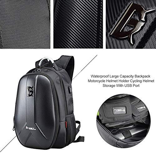 iBàste Wasserdichter Rucksack mit großer Kapazität, Motorradhelm- / Fahrradhelmhalter, Aufbewahrungs- / Wandertasche mit USB-Anschluss, Basketball- und...