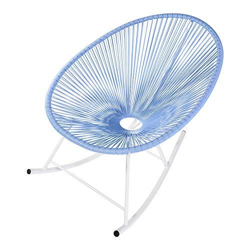Retro Acapulco Lounge Relax Schaukelstuhl Rocking Chair Rahmen & Füße Pulverbeschichtet Indoor & Outdoor Himmel Blau -